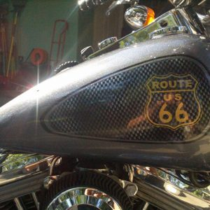 Route 66 Harley with Pearls, lots of them, combined to create a truly awesome custom paint.