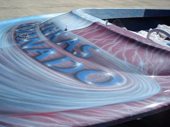Jet boat airbrushed with Red Wine Candy, Electric Blue, Silver Platinum Ghost Pearl.