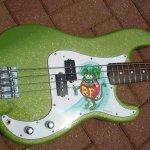 Limetreuse Flake on Rat Fink Guitar