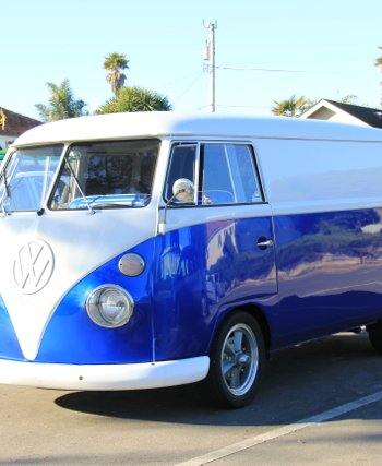 Royal Blue Candy Pearls VW Micro Bus Van.