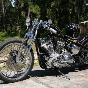 Black Harley. But this is not just a Black Harley, This is an Apple Red Metal Flake Sportster.