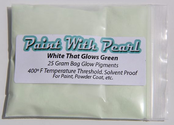 Daytime Picture White Pigment that glows green at night. White to Green glow in the dark paint pigment.